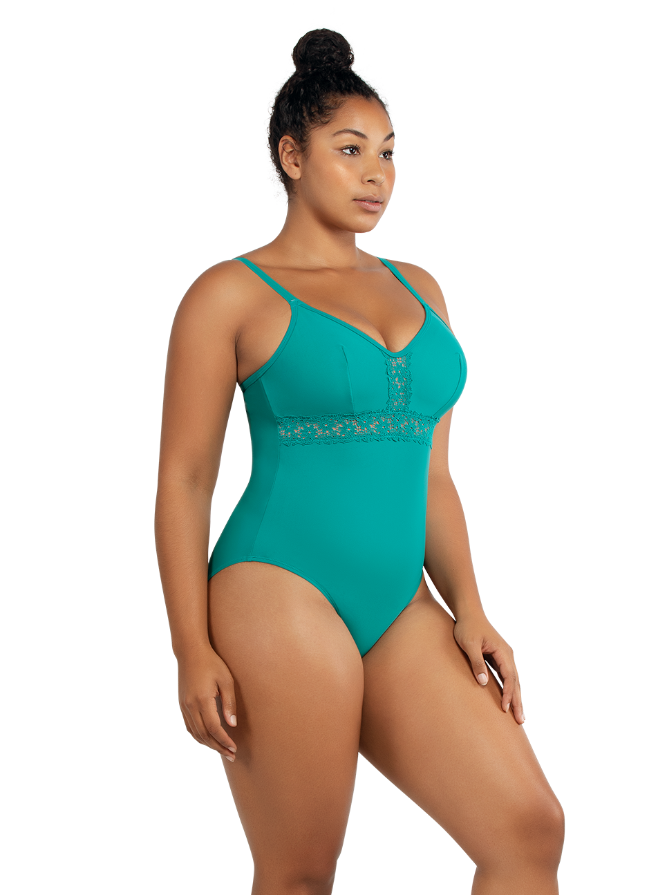 PARFAIT Brigitte OnePieceSwimsuitS8206 DarkMint Side - Brigitte One Piece Swimsuit Dark Mint S8206