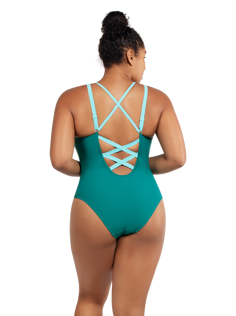 PARFAIT Lauren OnePieceSwimsuitS8226 DarkMintWTlbetanStone Back - Lauren One Piece Swimsuit Dark Mint w Tibetan Stone S8226