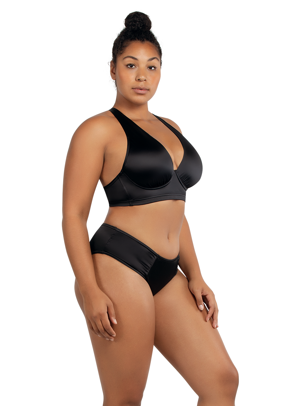 PARFAIT Rita LonglinePlungeTopS8142 BikiniBottomS8143 Black Side - Rita Bikini Bottom Black S8143