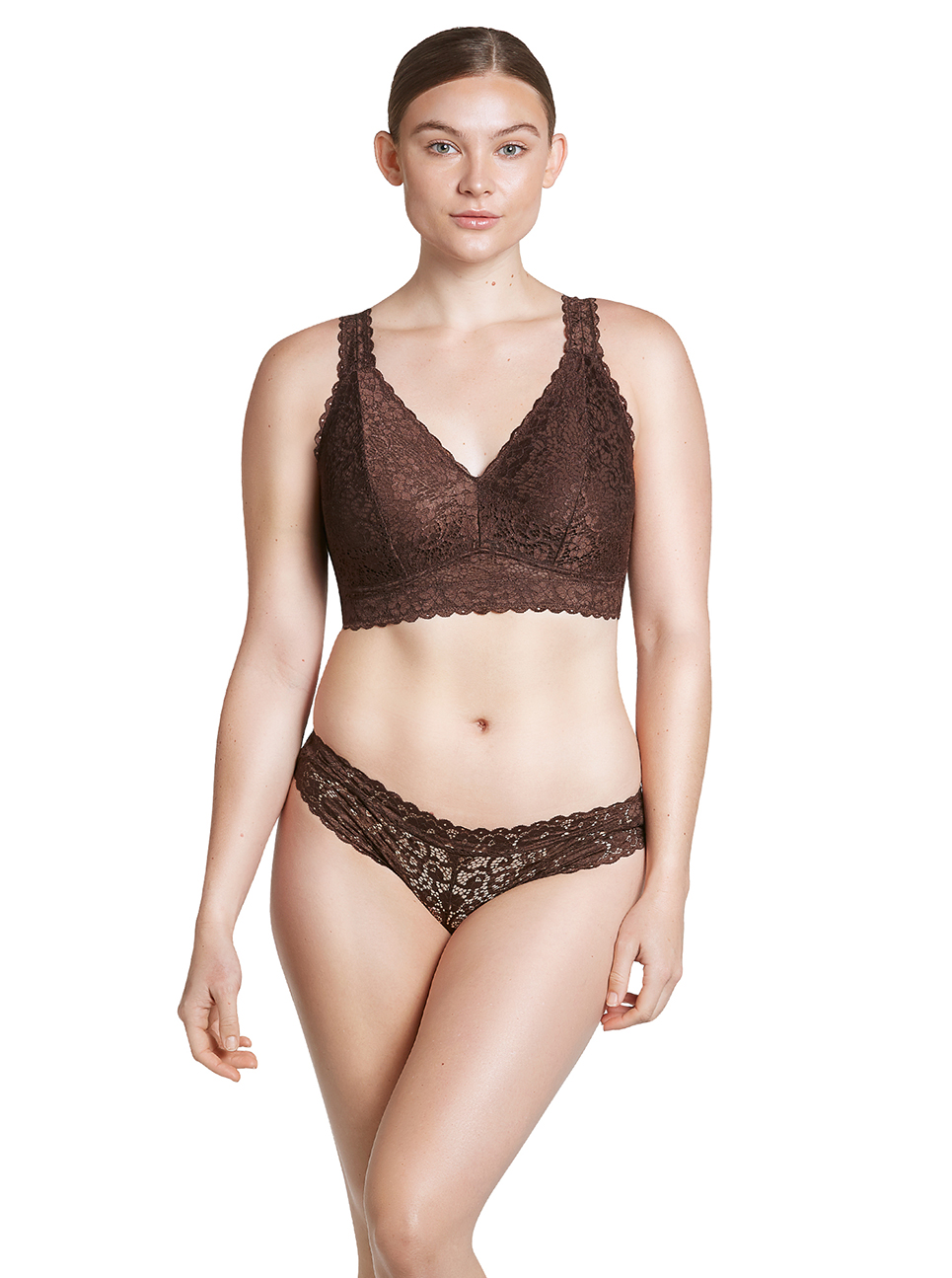 PARFAIT Adriana LaceBralette P5482 Bikini P5483 IntenseBrown Front - Adriana Lace Bralette Deep Nude P5482