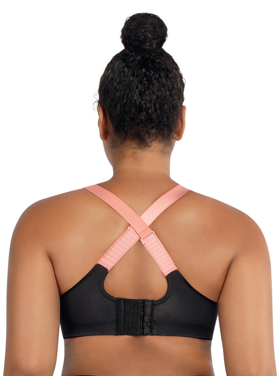 PARFAIT PowerFit UnlinedWiredSportBraP6002 BlackWPinkBlush Back - Power Fit Unlined Sports Bra Black w/ Pink Blush P6002